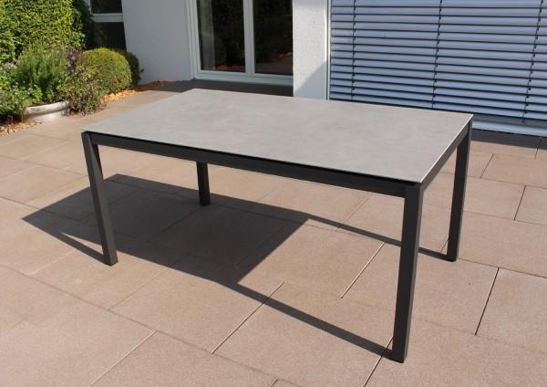 Jati & Kebon Keramiktisch zement dark 160X90 cm, Gestell eisengrau Aluminium