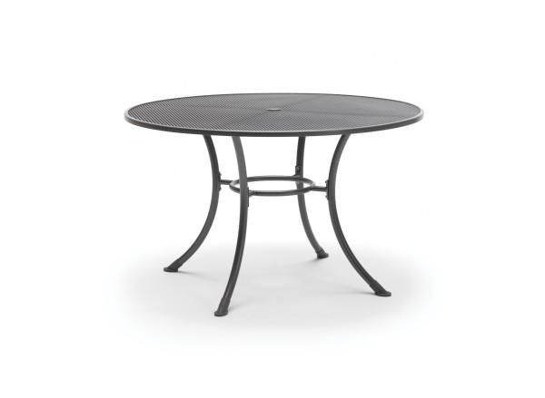 Kettler (GB) Streckmetall Tisch, Gestell Stahl, eisengrau, AD 90 cm, mit Schirmloch