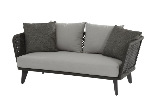 4 Seasons Belize 2,5 Sitzer Sofa, Rope-Geflecht grau mit 3 Kissen & 2 Dekokissen