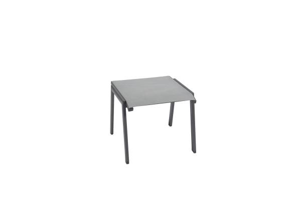 Jati & Kebon Hocker Beistelltisch Tinos / Rhodos Aluminium eisengrau Textilene silver grey
