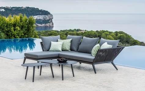 Medford Lounge Set mit Kissen PG3 natte charcoal und Amazone Tisch-Set, Gestell Aluminium eisengrau
