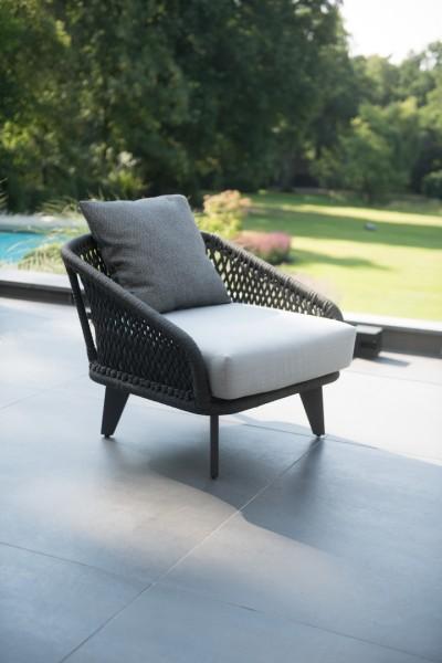 4 Seasons Belize Lounge Sessel, Rope-Geflecht grau mit 2 Kissen & 1 Dekokissen
