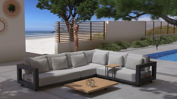 4 Seasons Metropolitan Lounge-Set mit Teak-Tisch, Gestell Aluminium