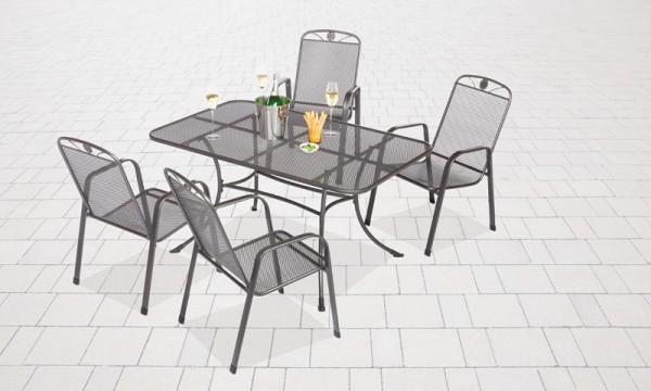 Setangebot Siena 5-teilig, Stapelsessel mit Tisch 160x90 cm, Tischplatte Streckmetall, eisengrau