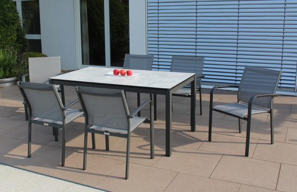 Jati & Kebon Set: 6 Malaga Stapelsessel und 1 HPL-Tisch 160x90 cm mit Tischplatte grigio granite, Ge
