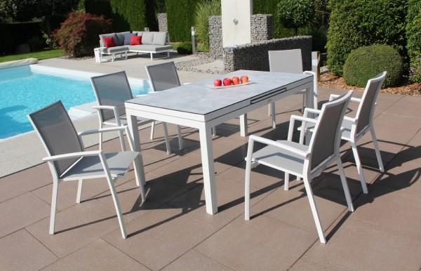 Jati & Kebon Set: 6 Sevilla Stapelsessel und 1 Gabon HPL-Tisch ausziehbar mit HPL-Tischplatte grigio