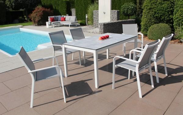 Jati & Kebon Set: 6 Dransy Stapelsessel und 1 HPL-Tisch 160x90 cm, Tischplatte grigio granite, Geste