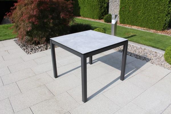 Jati & Kebon HPL-Tisch 90x90 cm mit HPL-Tischplatte grigio granite, Gestell eisengrau Aluminium