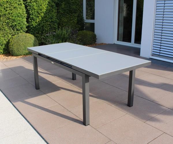 Jati & Kebon Gabon Aluminium Glastisch ausziehbar, eisengrau matt mit Glasplatte grau 157-210X90 cm