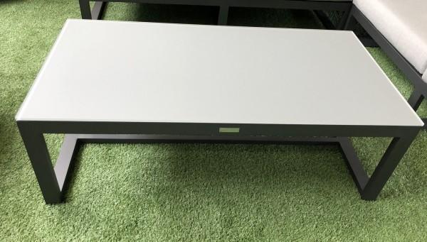 Jati & Kebon Prado Lounge Tisch 120x60 cm, eisengrau matt, mit Glasplatte, Höhe 40,5 cm