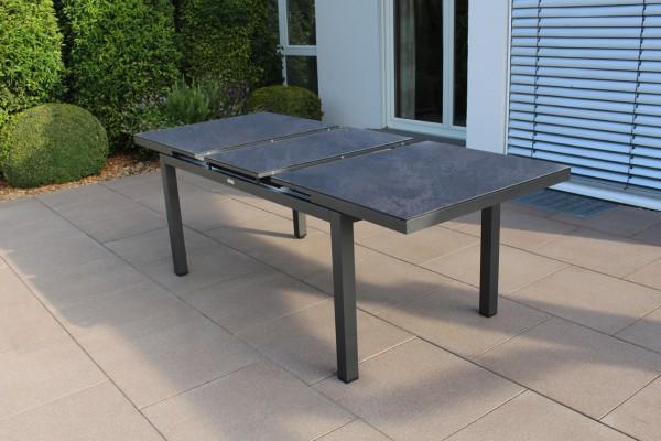 Jati & Kebon Gabon Aluminiumtisch ausziehbar, eisengrau matt mit HPL Tischplatte Nero Granite 160-21