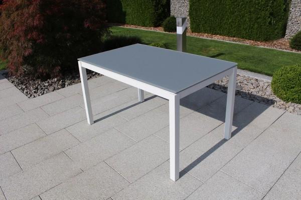 Jati & Kebon Glastisch 130x80 cm mit Glas Tischplatte light grey, Gestell weiss Aluminium