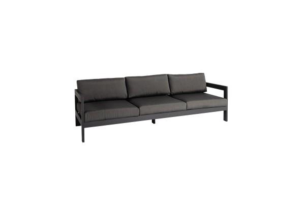 Jati & Kebon Vigo 3-Sitzer Lounge Sofa grau matt, mit Verstellfunktion an beiden Seiten 233x78,5x61