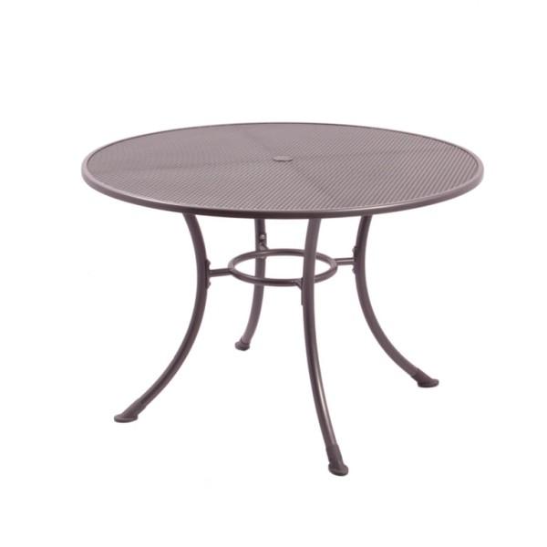 Streckmetall Tisch ø 110 cm eisengrau, Tischplatte mit Schirmloch
