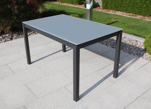 Jati & Kebon Glastisch 130x80 cm mit Glas Tischplatte light grey, Gestell eisengrau Aluminium