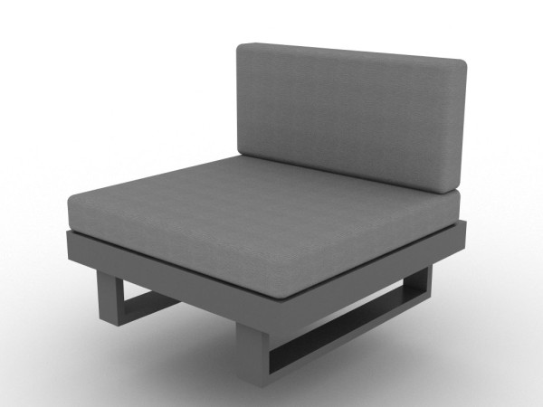 Livio 1-Sitzer eisengrau mit Rückenlehne und Kissen Sunbrella natte sooty