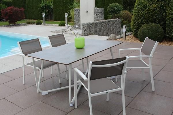 Sow Shin HPL Tisch 160x90 cm, Gestell Bow weiss, Tischplatte Pattina Tin