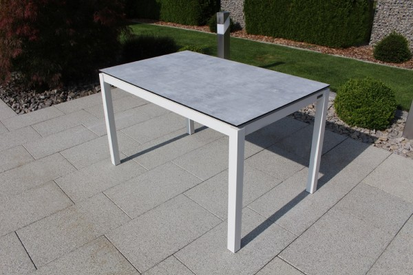Jati & Kebon HPL-Tisch 130x80 cm mit HPL-Tischplatte grigio granite, Gestell weiss Aluminium