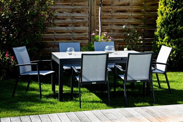 Set Sevilla 6 Stapelsessel und 1 Gabon Aluminium Tisch ausziehbar, 160/210x90 cm HPL Tischplatte gri