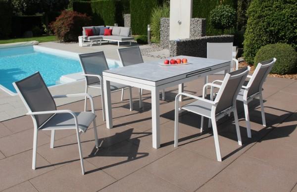 Jati und Kebon Set: 6 Dransy Stapelsessel und 1 Gabon HPL-Tisch ausziehbar mit HPL-Tischplatte grigi