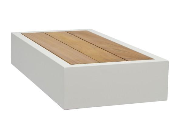 Jati & Kebon Bari Beistelltisch 90x45x32 cm, Aluminium weiss/Teak mit U-Bein