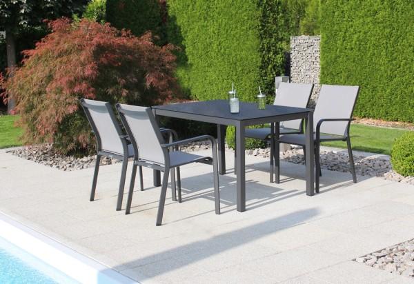 Jati & Kebon Set: 4 Dransy Stapelsessel und 1 HPL-Tisch 130x80 cm, Tischplatte nero granite, Gestell