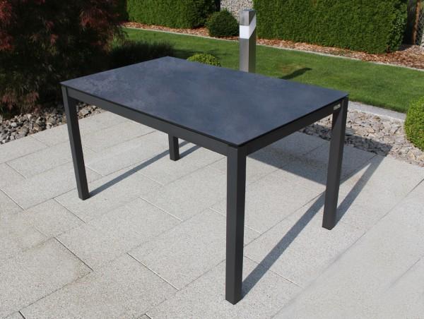 Jati & Kebon HPL-Tisch 130x80 cm mit HPL-Tischplatte nero granite, Gestell eisengrau Aluminium