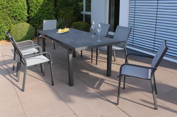 Jati & Kebon Set: 6 Dransy Stapelsessel und 1 Gabon HPL-Tisch ausziehbar mit Tischplatte nero granit