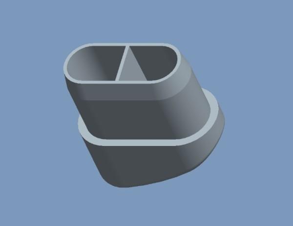 Fusskappen 36x15mm schwarz oval, schräg