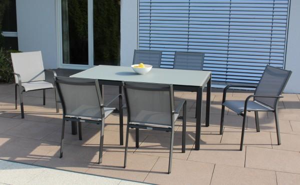 Jati & Kebon Set: 6 Dransy Stapelsessel und 1 Glas-Tisch 160x90 cm mit Glassplatte light grey, Geste