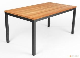 Jati & Kebon Aluminium Tisch Salerno mit Teak Tischplatte 160x90 cm, Gestell eisengrau matt