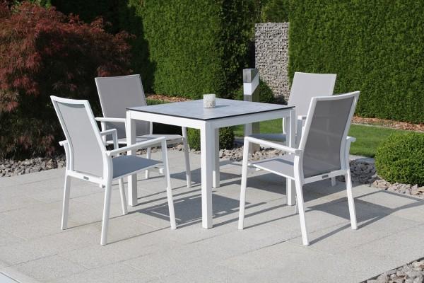 Jati & Kebon Set: 4 Nashville Stapelsessel und 1 HPL-Tisch 90x90 cm mit HPL-Tischplatte grigio grani