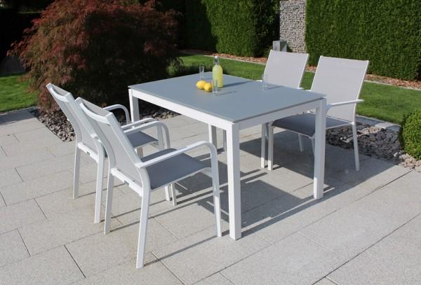 Jati & Kebon Set: 4 Dransy Stapelsessel und 1 Glas-Tisch 130x80 cm, Tischplatte light grey, Gestell