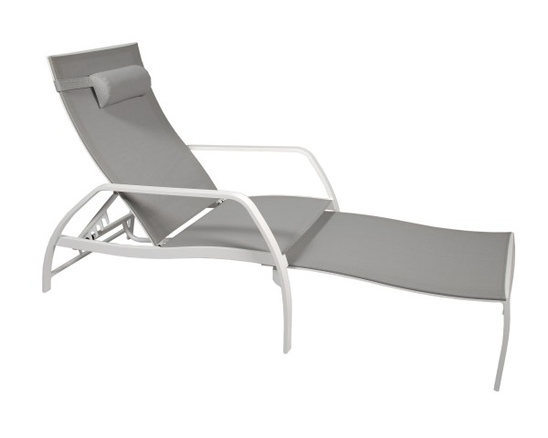 Jati & Kebon Deck Chair Vedia, weiss matt, Textilene light grey, inkl. Nackenkissen