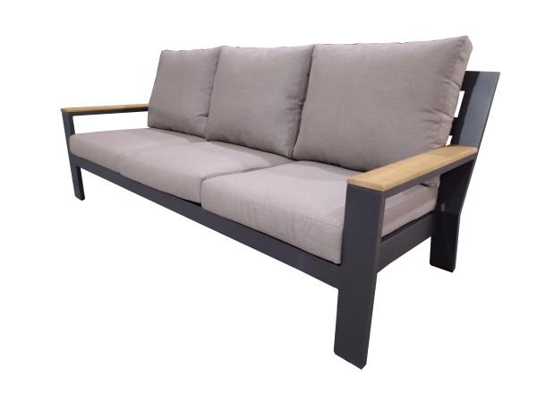 Jati & Kebon Merano Lounge Sofa eisengrau mit Teak Armlehnen, Kissen natte carbon beige