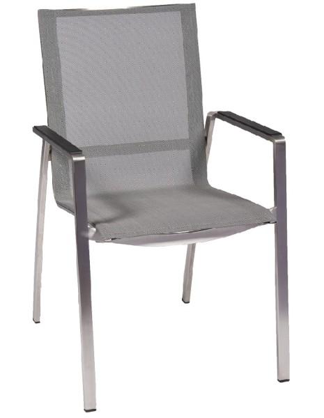 Jati &Kebon Stapelsessel Monaco Edelstahl / Textilene silver grey, Armlehnen Alu schwarz