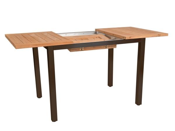 Jati & Kebon Ausziehtisch Mallorca, Alu Gestell grau, Teak-Tischplatte 100/150x70 cm