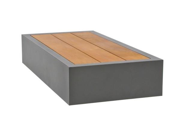 Bari Beistelltisch 90x45x32 cm, Aluminium eisengrau/Teak mit U-Bein