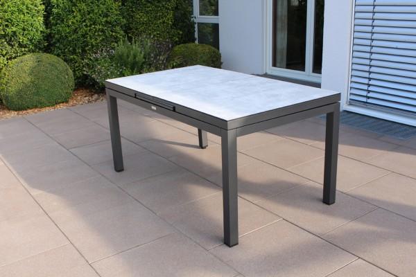 Jati & Kebon Gabon Aluminiumtisch ausziehbar, eisengrau matt mit HPL Tischplatte Grigio Granite 160/
