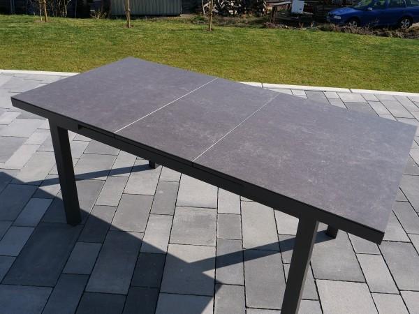 Sungörl Ausziehtisch 140/180x90 cm, Gestell Aluminium, Tischplatte Keramik-Glasplatte in beton-light
