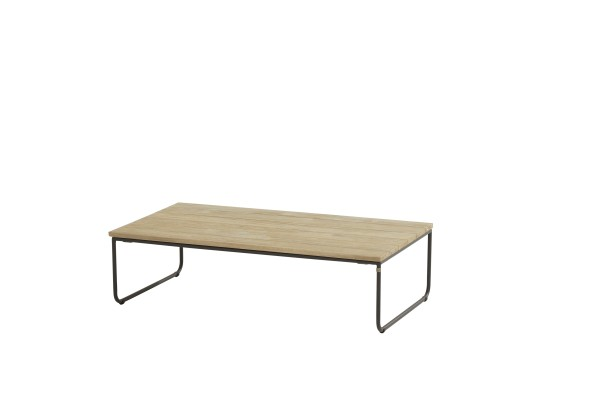 4 Seasons Axel Loungetisch mit Teak-Platte, Edelstahl-Beine anthrazit 110x60cm, H 30 cm