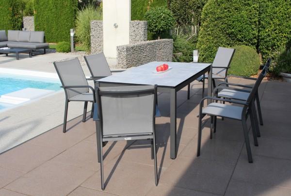 Jati & Kebon Set: 6 Dransy Stapelsessel und 1 HPL-Tisch 160x90 cm mit Tischplatte grigio granite, Ge