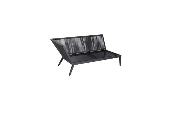 Jati & Kebon Medford 2-Sitzer /Sonnenliege AL rechts eisengrau, Schnurbespannung grau