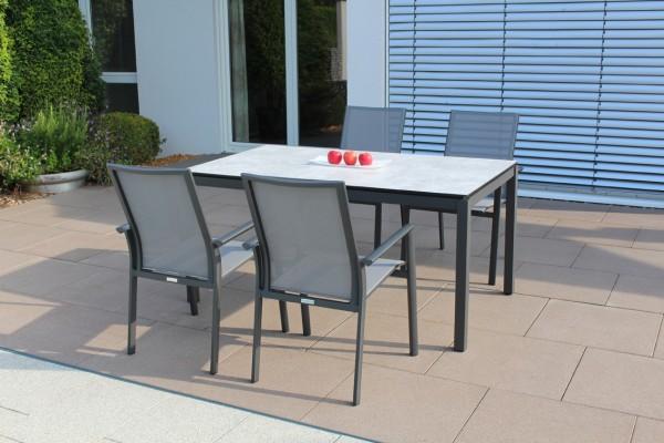 Jati & Kebon Set: 4 Nashville Stapelsessel und 1 HPL-Tisch 160x90 cm mit Tischplatte grigio granite,