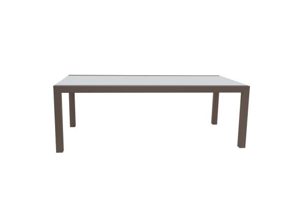 Jati & Kebon Livorno Aluminium Glastisch ausziehbar, eisengrau matt mit Glasplatte grau 220-330x106