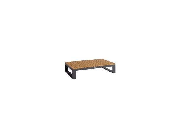 Virginia Teak-Tisch 120x75 cm, Höhe 28 cm, Gestell Aluminium eisengrau