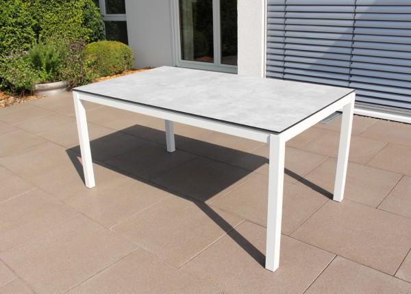 Jati & Kebon HPL-Tisch 160x90 cm mit HPL-Tischplatte grigio granite, Gestell weiss, Aluminium
