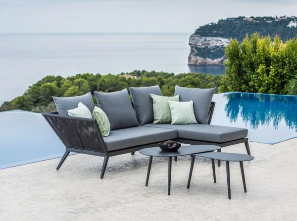 Jati & Kebon Medford Lounge Set mit Kissen PG3 natte charcoal und Amazone Tisch-Set, Gestell Alumini
