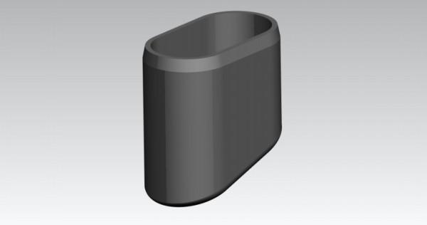 Fusskappen 40x20 mm, oval/schräg, Frb. schwarz.