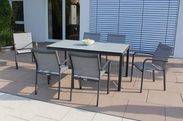 Jati & Kebon Set: 6 Malaga Stapelsessel und 1 Glas-Tisch 160x90 cm mit Glasplatte light grey, Gestel